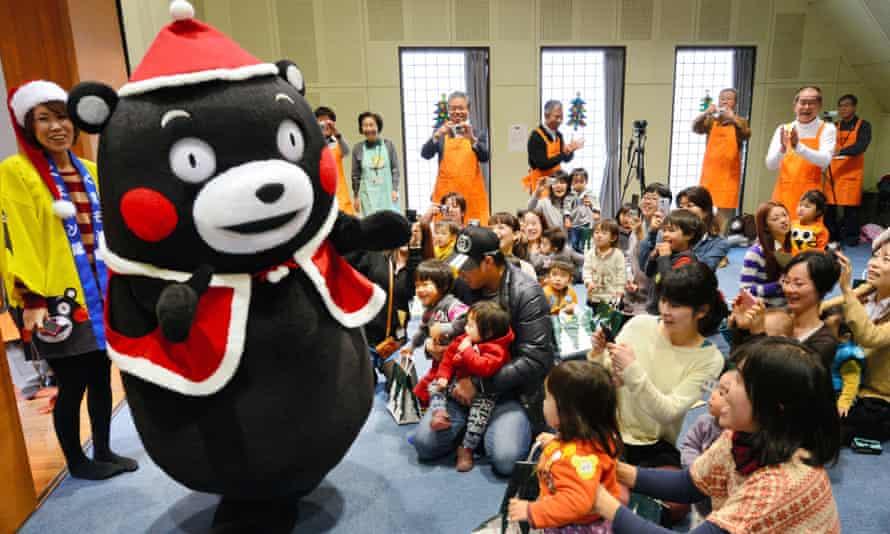 Kumamoto prefecture's official mascot, the ever popular tubby black bear Kumamon, in Santa Claus costume.