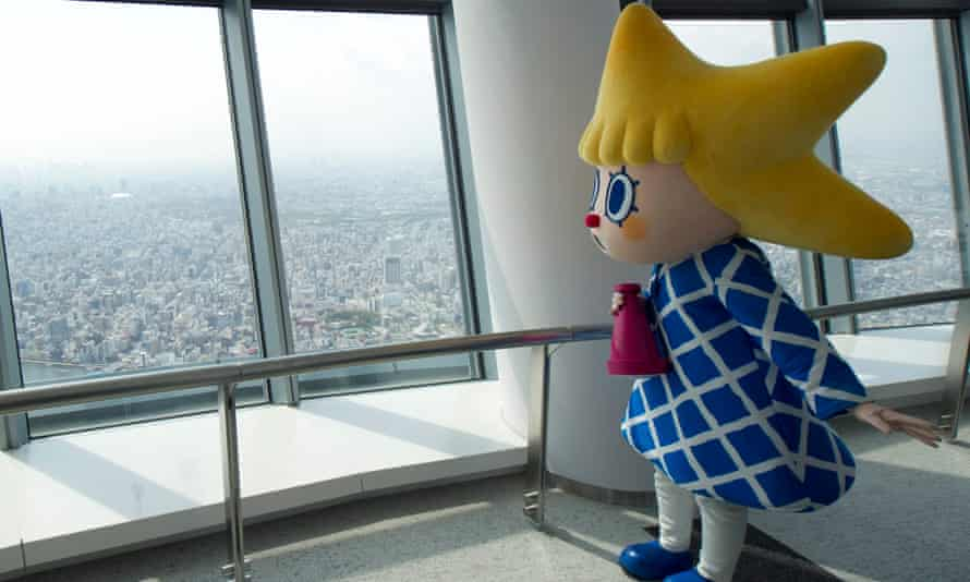 Sorakara, the Tokyo Sky Tree mascot, poses at the observatory of the 634m-high telecommunications tower.