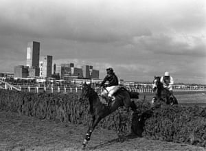 1984 Hallo Dandy, ridden by Neale Doughty, clears the final fence to win the race