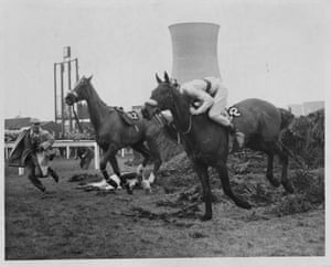 1964 Sea Knight successfully clears the Chair while the jockey, Paddy Farrell, lies immobilised with a broken back after a fall from Border Flight. Farrell was confined to a wheelchair after the fall. His plight and the fact he had four children under the age of seven at the time of the accident led to the foundation of the Injured Jockeys Fund