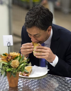Ed Miliband eating a sandwich