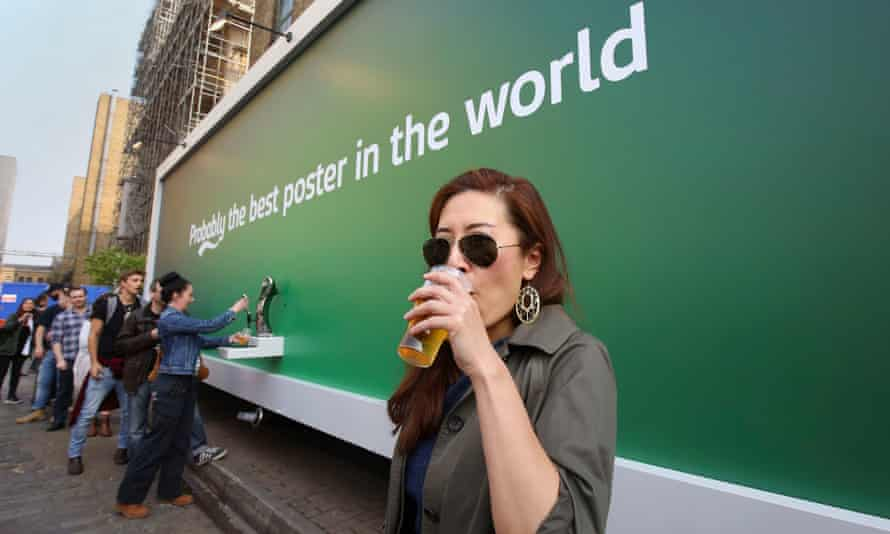 A Carlsberg poster offering free beer at the Truman Brewery in London's Brick Lane