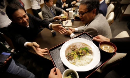 Whale curry is served to government officials at a conference in Tokyo, Japan.