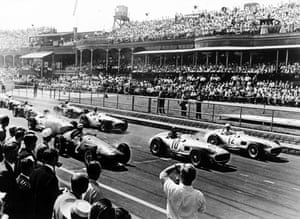 1955 Aintree was also used as a venue for motor racing until the 1980s, with the circuit located within the racecourse and the same grandstands used. The British Grand Prix was staged there on five occasions, in 1955, 1957, 1959, 1961 and 1962, and the circuit also held 11 non-championship Formula One races, known as the Aintree 200. The first grand prix staged at Aintree in 1955 was won by Stirling Moss (No12 above)