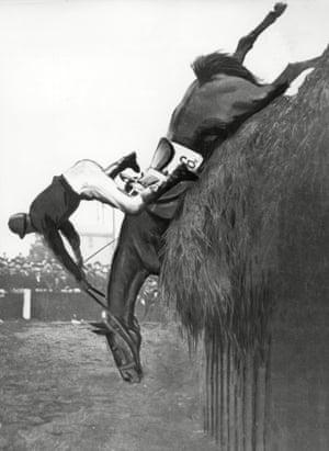 1923 Trentino Falls and jockey Major J Wilson take a tumble at Becher's Brook