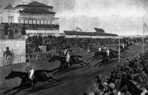1839 Jockeys and their horses cross the finishing line.  The race was won by Jem Mason on Lottery