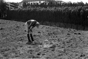 1983 A fallen and dejected jockey at Becher's Brook