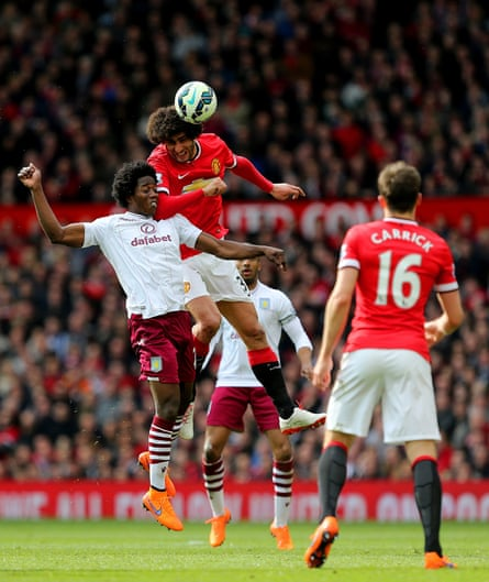 Marouane Fellaini, centre, contests almost twice as many aerial balls as any other midfielder.