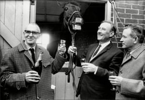 1967 Foinavan enjoys his triumph with the owner, Cyril Watkins, left, and the trainer, Jack Kempton
