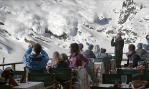 Skiers watch the avalanche in Force Majeure.