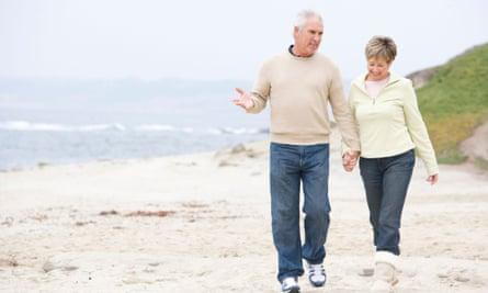 Retired people on beach