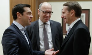 Greek prime minister Alexis Tsipras meets Sergei Naryshkin, the speaker of the lower house of the Russian parliament.