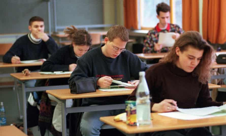 German students sit the Abitur exam.