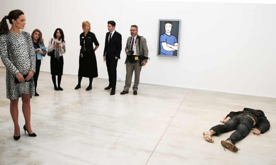 The Duchess of Cambridge looks at Self Portrait as a Drowned Man by Jeremy Millar during a visit to Turner Contemporary, Margate.