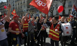 Demonstrators in Paris protest against reforms by the Socialist-led government.
