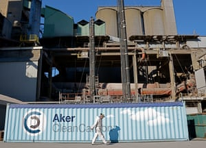 A carbon capture and storage (CCS) project, run by Aker Clean Carbon, at Norcem cement plant in Brevik, Norway.