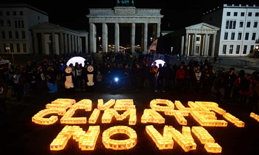 'Save our climate, now', spelled out in candles for Earth Hour, Berlin