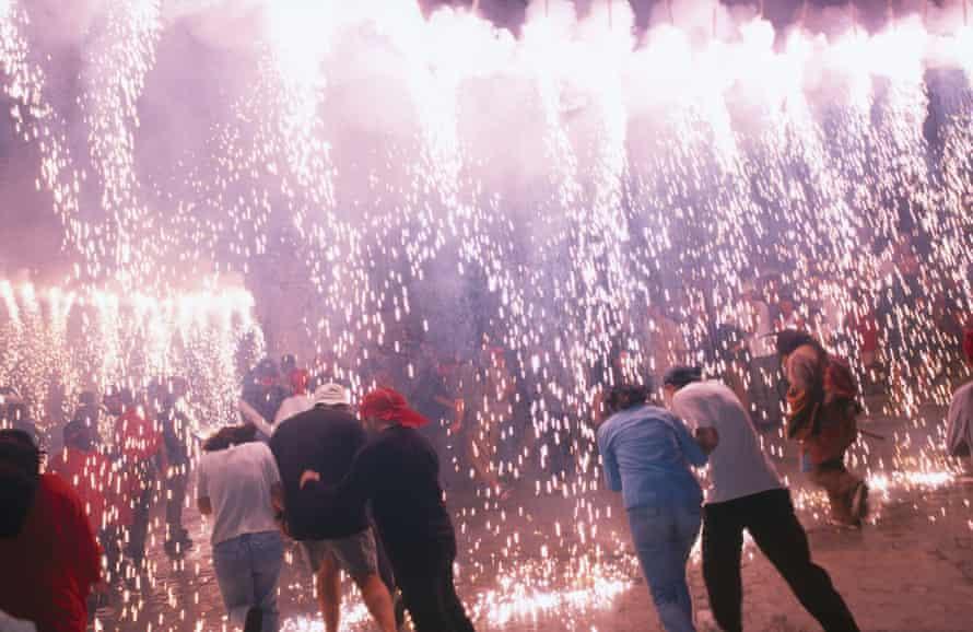People burning crackers in church, St. Bartholomaeus Church, Mallorca