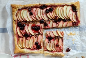 Ruby's apple, cherry and hazelnut-butter tart: buttery puff pastry, hazelnut, sweet apple, melting cherry jam.