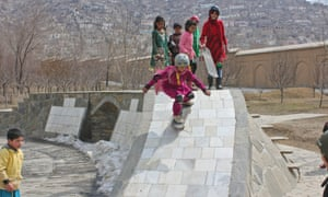 Children participating in the Skateistan project skateboard in Kabul.