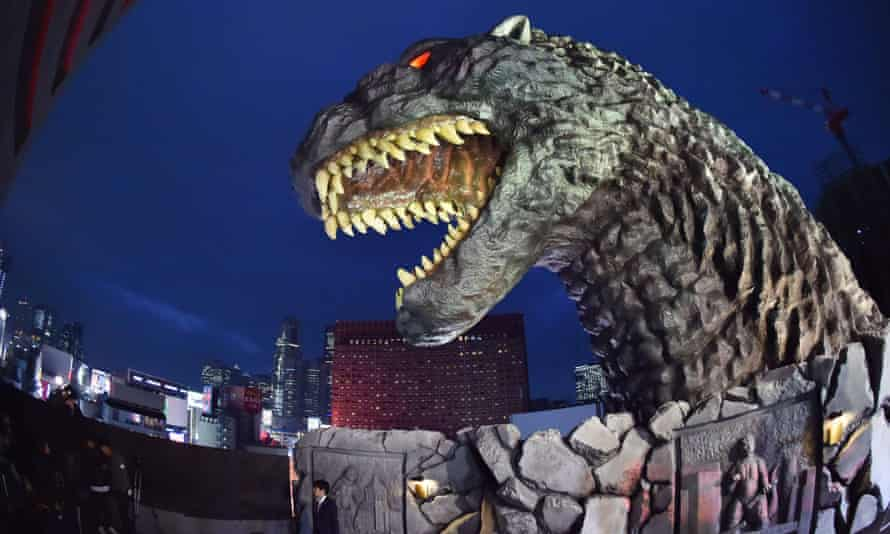 The Godzilla head adorns a hotel balcony in a new commercial complex in Shinjuku, Tokyo.