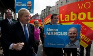 London mayor Boris Johnson canvassing on Kilburn High Road
