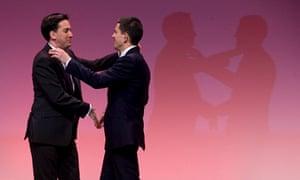 Ed and David Miliband shake hands at the leadership election