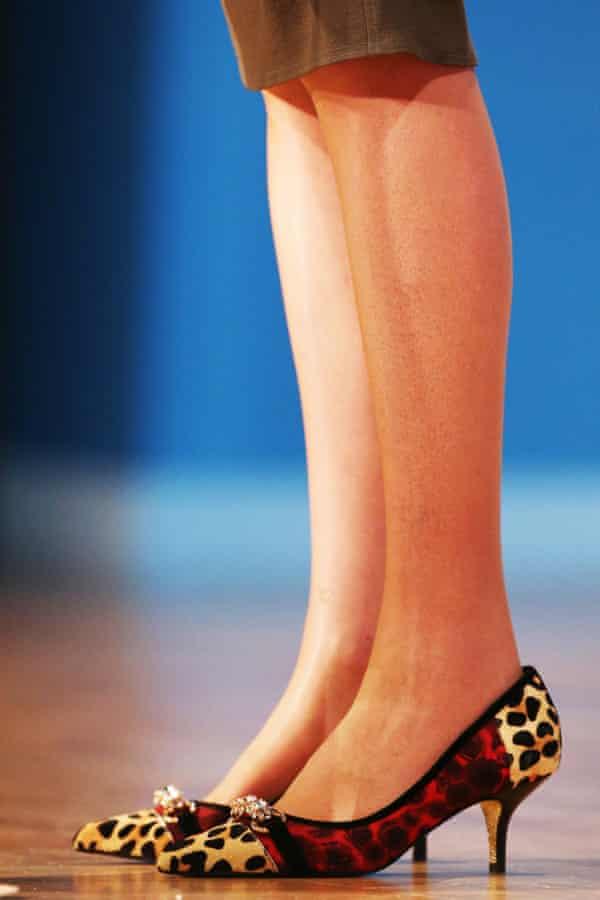 Theresa May's leopard print kitten heels
