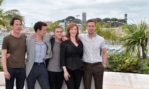 Gosling promotes Lost River in Cannes with his stars, May 2014.