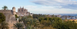 The view across to Palma Cathedral from Hostal Cuba's Sky Bar, Palma