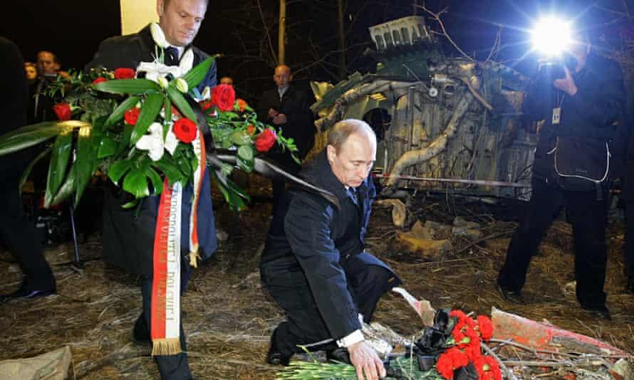 Vladimir Putin and Donald Tusk at the Smolensk plane crash site in 2010