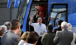 Britain's Prime Minister David Cameron arrives to deliver a speech to Conservative Party supporters and activists during an election campaign event in Wadebridge, south-western England