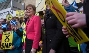 SNP leader Nicola Sturgeon campaigning at a shopping centre in Glasgow East. 'I didn't think she would do so well,' said one panellist of the debate.