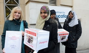 Fahma Mohamed and fellow campaigners deliver almost 250,000 signatures to the Department of Education in their campaign against FGM