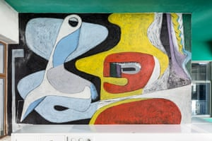 The mural by Le Corbusier in the guest bedroom of the villa.