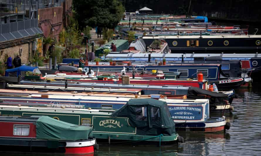 Narrowboats on Regent's Canal in north London.