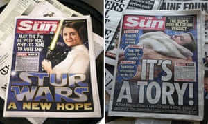 A Scottish edition of The Sun endorsing SNP leader Nicola Sturgeon, and an edition of the Sun on the same day endorsing the Conservatives.