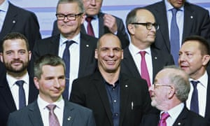 Greek finance minister Yanis Varoufakis, centre, poses for a photo with other participants at the meeting of eurozone ministers in Riga. Creditors have extended the deadline for Greece's reform programme.