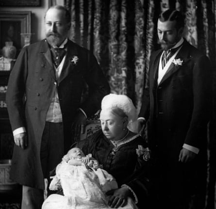Queen Victoria with her son Edward, later King Edward VII, her grandson George (right), later King George V, and her great-grandson Edward, later King Edward VIII and then the Duke of Windsor, photographed in 1894