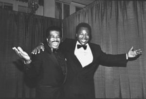 Ben E. King with singer-guitarist George Benson at the Rock & Roll Hall of Fame induction banquet in 1990
