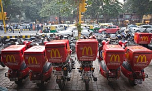 McDonald's delivery mopeds in Delhi, India.