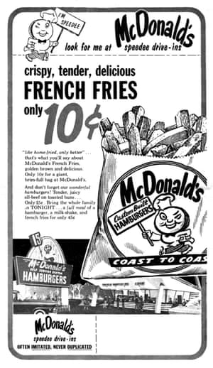 Vintage poster for McDonald's, which celebrated its 60th anniversary this year.