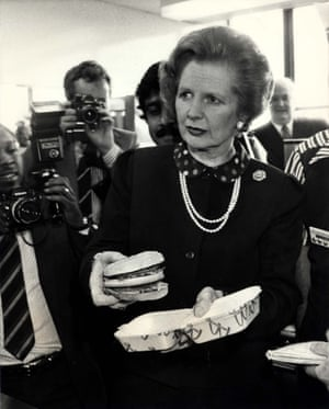 Prime Minister Margaret Thatcher with a McDonald's burger In East Finchley, 1983.