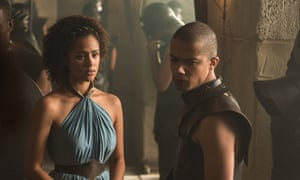 Nathalie Emmanuel as Missandei and Jacob Anderson as Grey Worm.