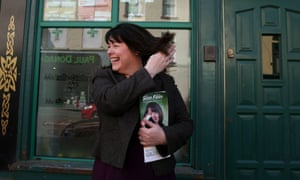 Michelle Gildernew outside the Sinn Fein offices on Irish street in Dungannon, Co. Tyrone.