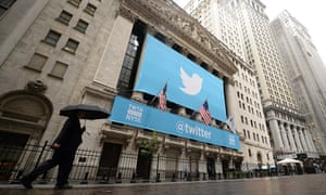The scene on Wall Street when Twitter floated on the New York Stock Exchange in November 2013.
