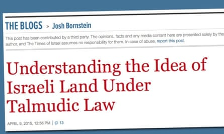 The Times of Isarel blog entry, which Josh Bornstein did not write.