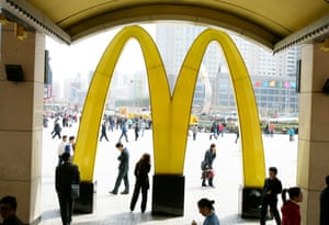 McDonald's opened in China in the same year as Russia, 1990. Pictured: a restaurant in Liaoning Province, China.