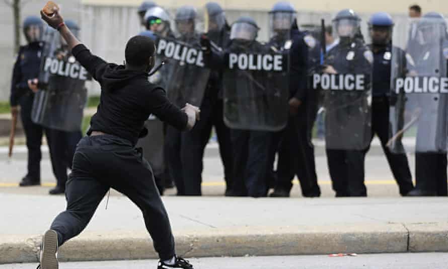 A rioter in Baltimore