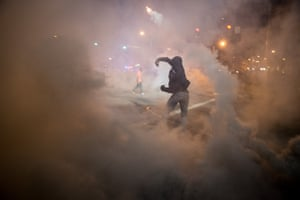 Tear gas is used during demonstrations in Baltimore on April 28